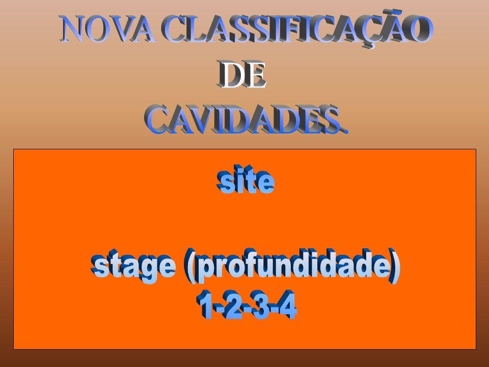 NOVA CLASSIFICAÇÃO DE CAVIDADES. site stage (profundidade) 1-2-3-4