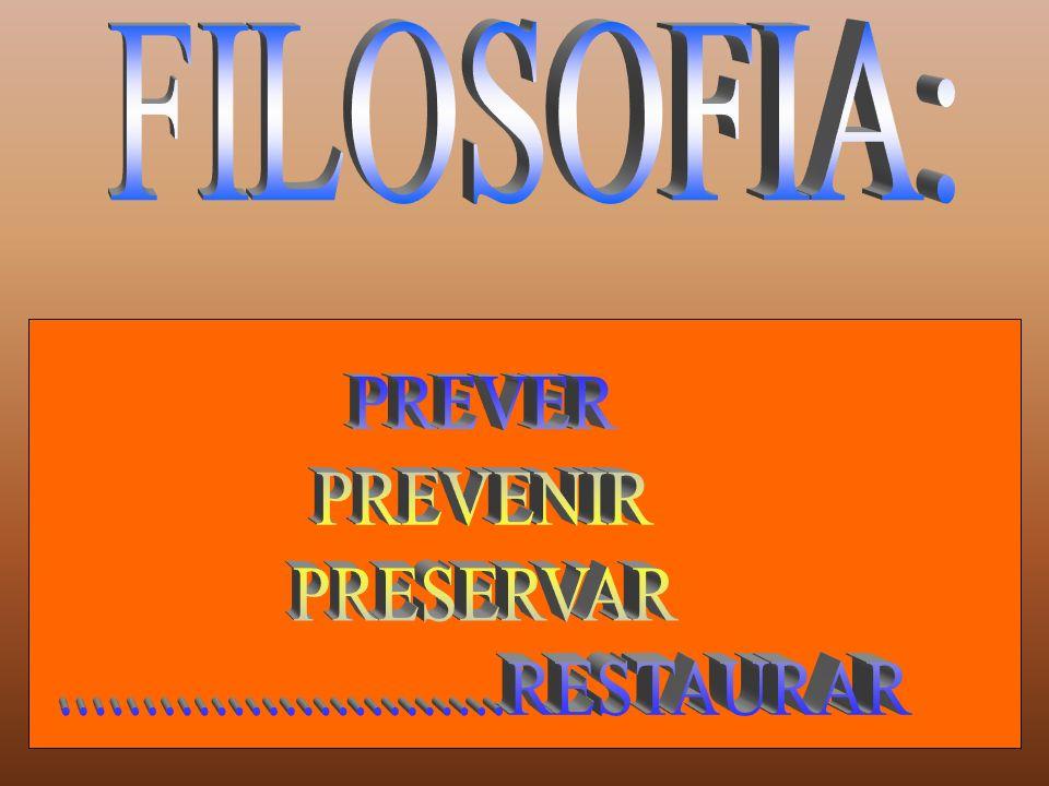 FILOSOFIA: PREVER PREVENIR PRESERVAR ..........................RESTAURAR
