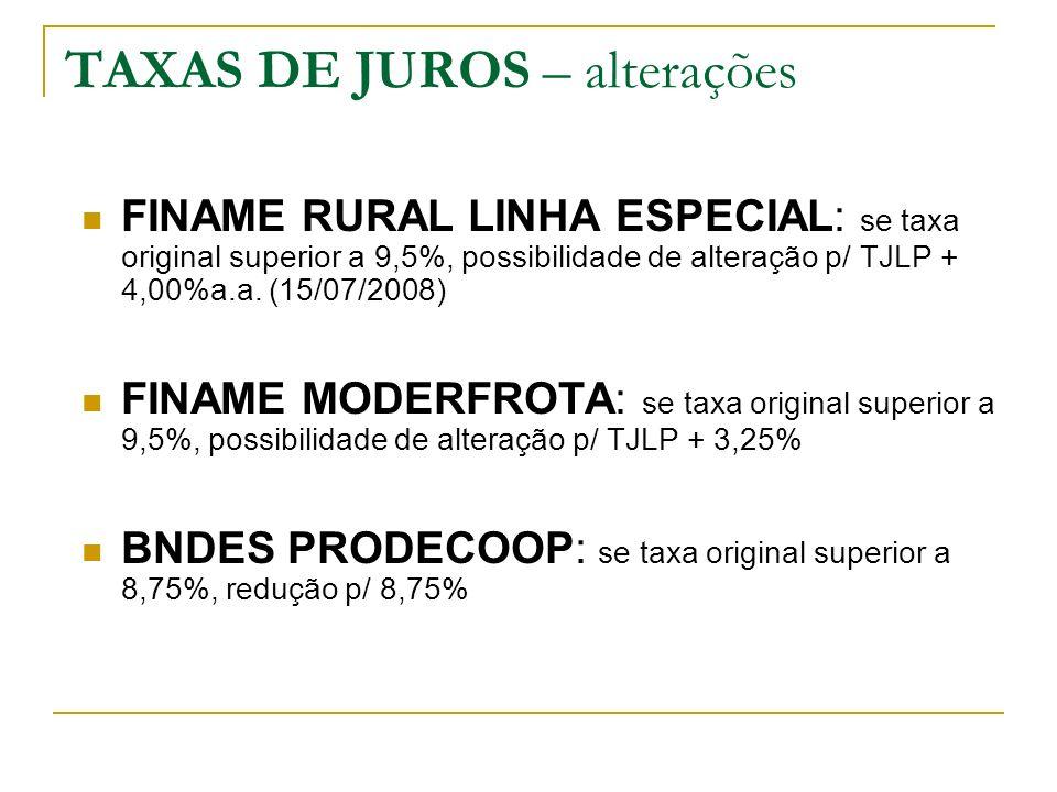 TAXAS DE JUROS – alterações