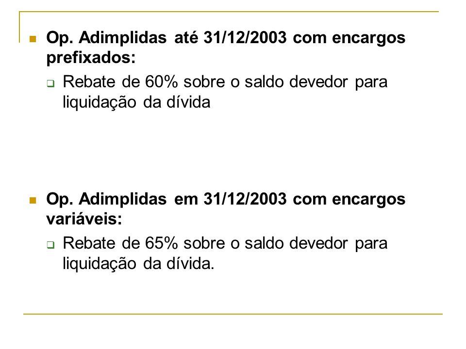 Op. Adimplidas até 31/12/2003 com encargos prefixados: