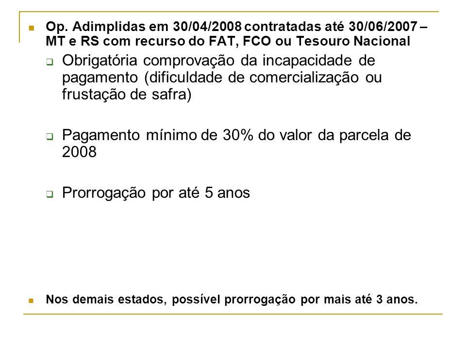 Pagamento mínimo de 30% do valor da parcela de 2008