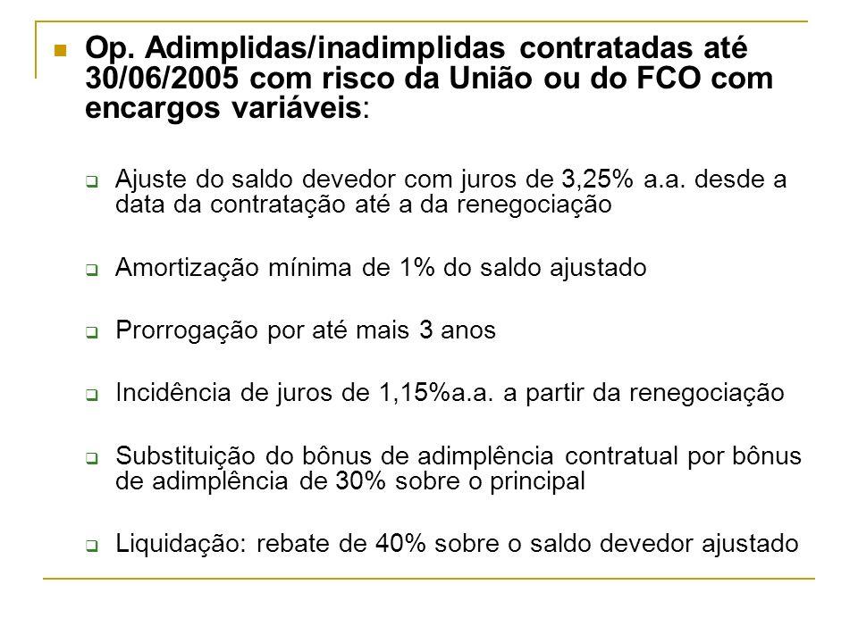 Op. Adimplidas/inadimplidas contratadas até 30/06/2005 com risco da União ou do FCO com encargos variáveis: