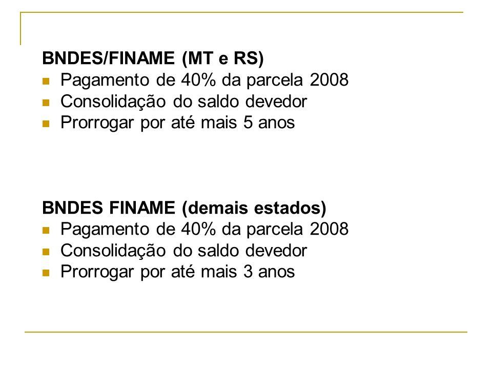 BNDES/FINAME (MT e RS) Pagamento de 40% da parcela 2008. Consolidação do saldo devedor. Prorrogar por até mais 5 anos.