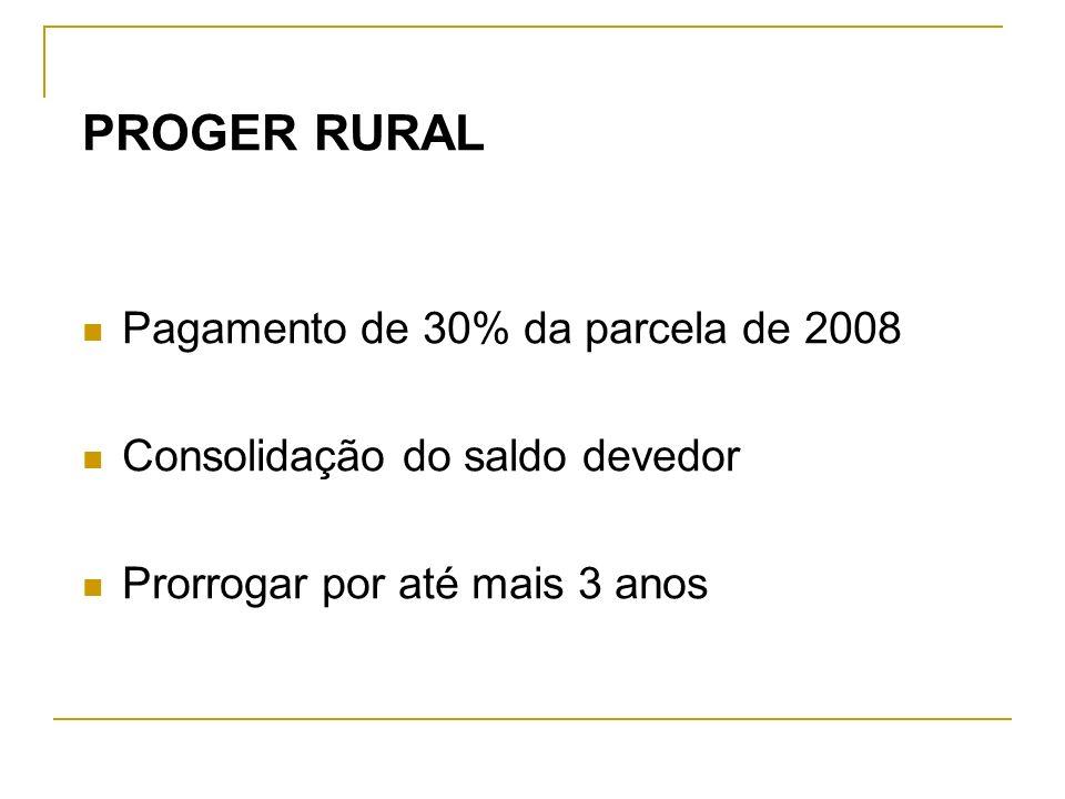 PROGER RURAL Pagamento de 30% da parcela de 2008