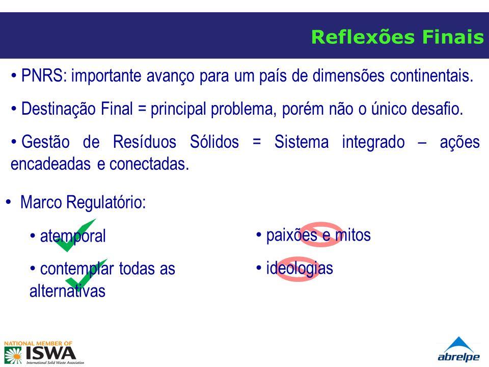 Reflexões Finais Marco Regulatório: