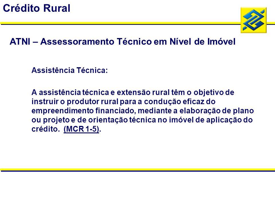 Crédito Rural ATNI – Assessoramento Técnico em Nível de Imóvel