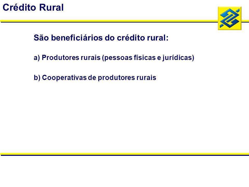 Crédito Rural São beneficiários do crédito rural: