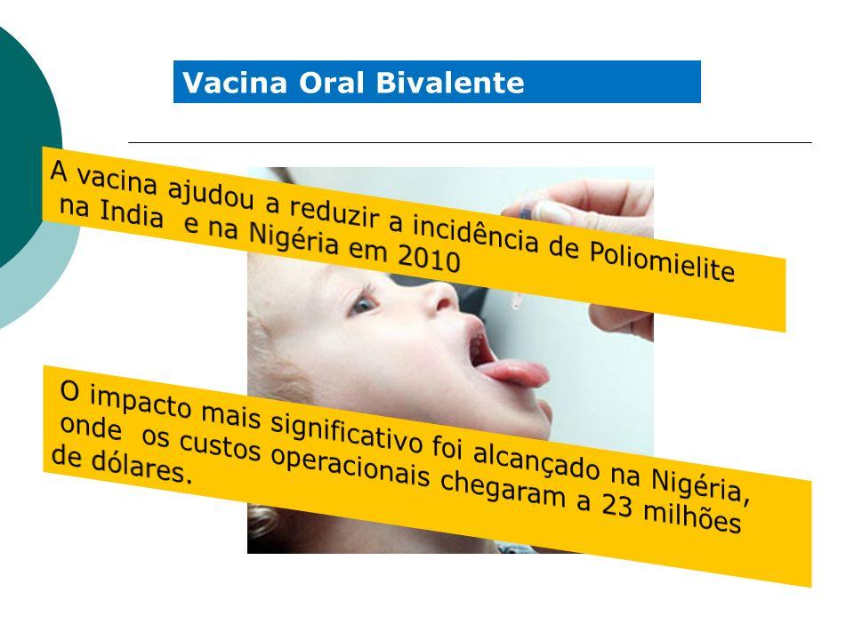 Vacina Oral Bivalente A vacina ajudou a reduzir a incidência de Poliomielite. na India e na Nigéria em 2010.
