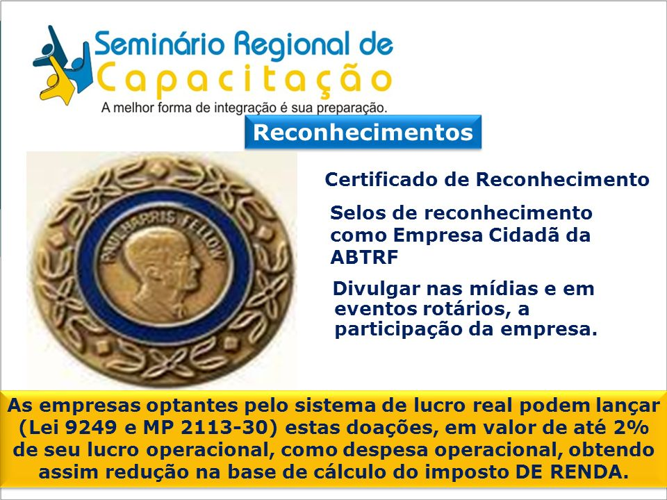 Reconhecimentos Certificado de Reconhecimento