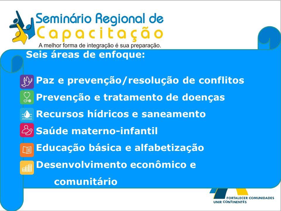 Seis áreas de enfoque: • Paz e prevenção/resolução de conflitos. • Prevenção e tratamento de doenças.
