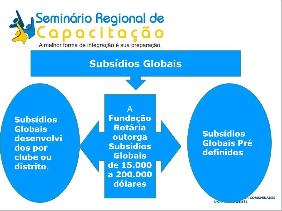 Subsídios Globais Subsídios Globais desenvolvidos por clube ou distrito. Subsídios Globais Pré definidos.
