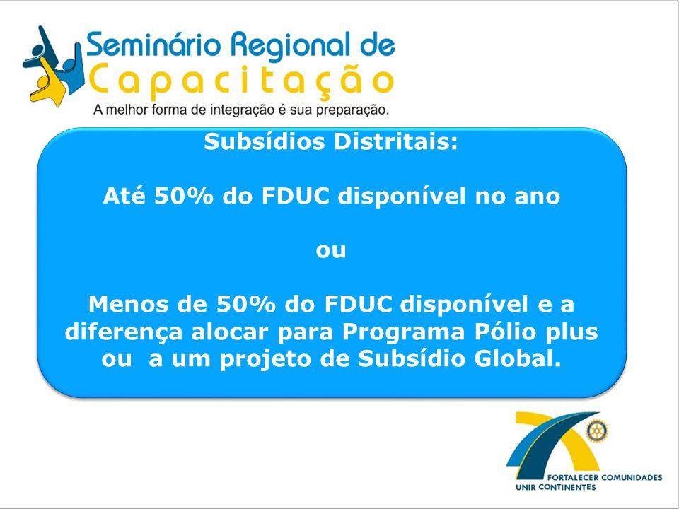 Subsídios Distritais: Até 50% do FDUC disponível no ano