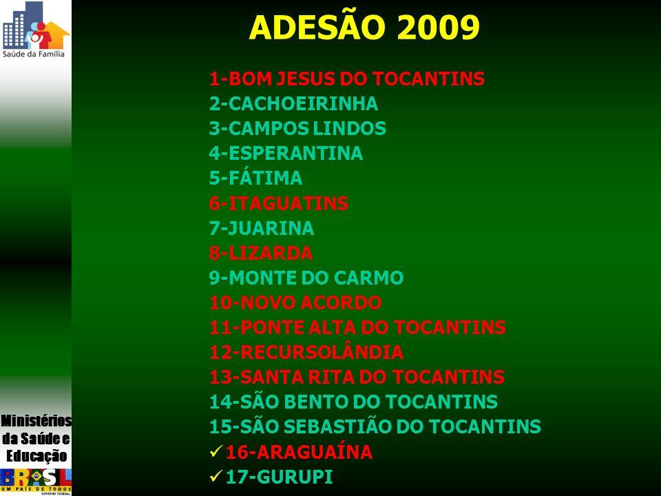 ADESÃO 2009 1-BOM JESUS DO TOCANTINS 2-CACHOEIRINHA 3-CAMPOS LINDOS