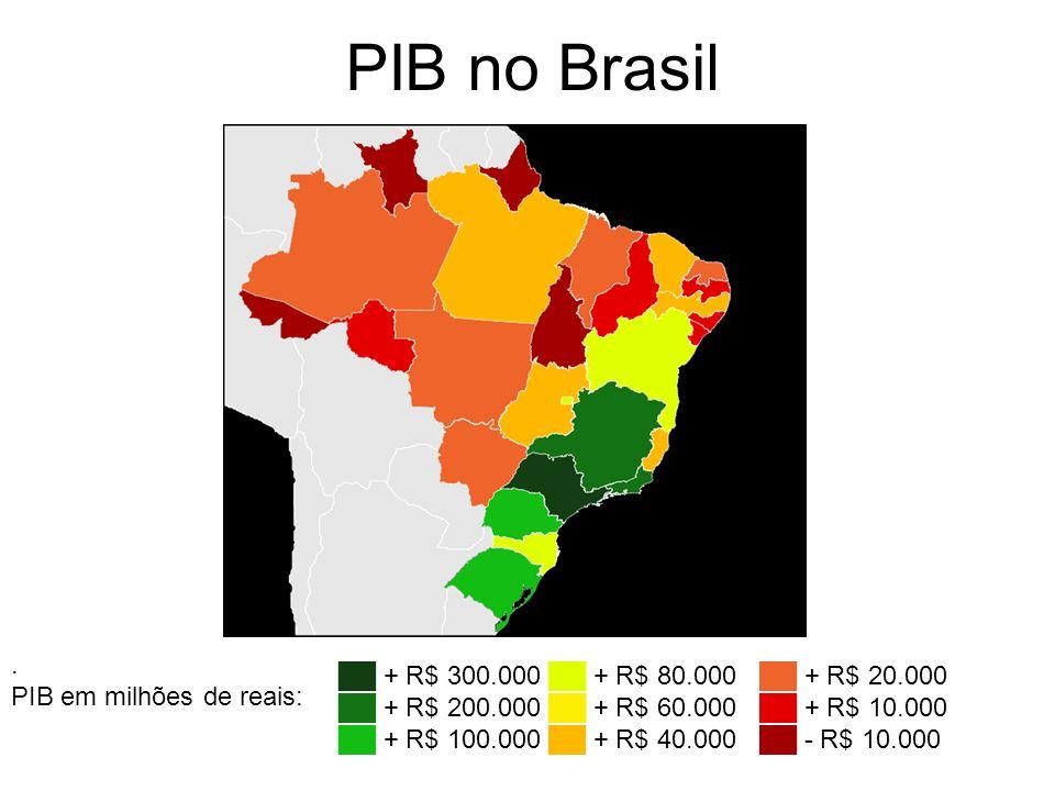 PIB no Brasil . PIB em milhões de reais: ██ + R$ 300.000