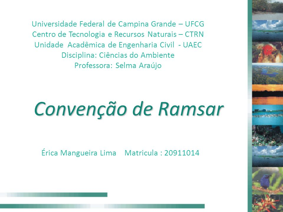 Convenção de Ramsar Universidade Federal de Campina Grande – UFCG