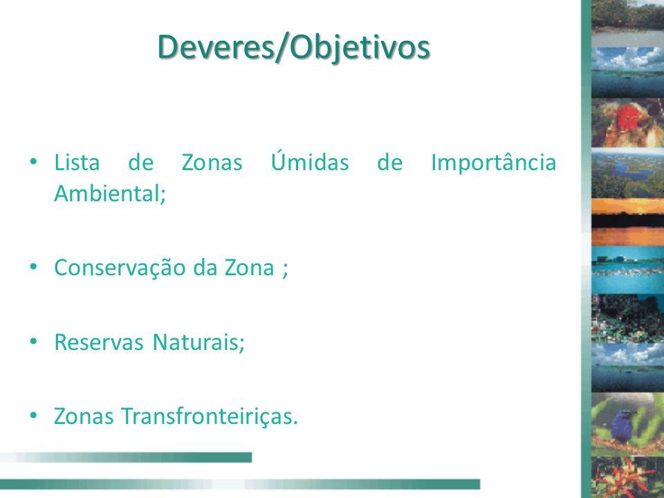 Deveres/Objetivos Lista de Zonas Úmidas de Importância Ambiental;