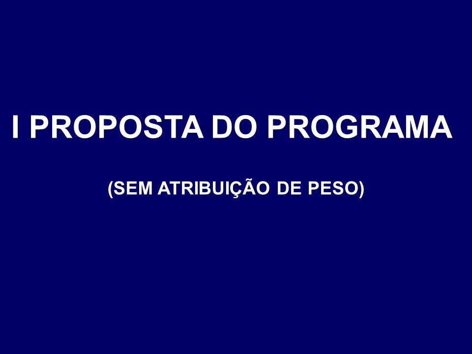 I PROPOSTA DO PROGRAMA (SEM ATRIBUIÇÃO DE PESO)