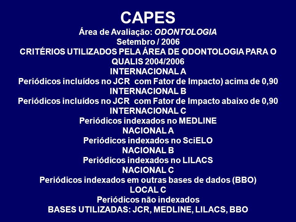CAPES Área de Avaliação: ODONTOLOGIA Setembro / 2006