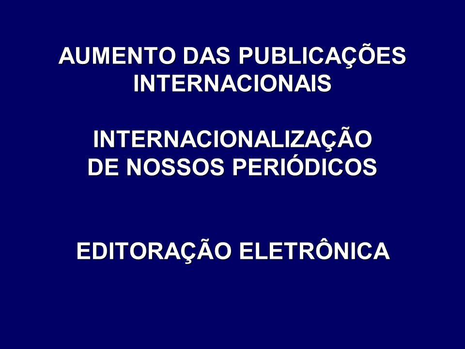 AUMENTO DAS PUBLICAÇÕES INTERNACIONAIS INTERNACIONALIZAÇÃO DE NOSSOS PERIÓDICOS EDITORAÇÃO ELETRÔNICA