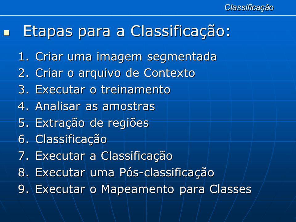 Etapas para a Classificação: