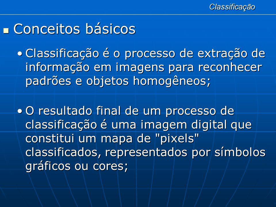 Classificação Conceitos básicos. Classificação é o processo de extração de informação em imagens para reconhecer padrões e objetos homogêneos;