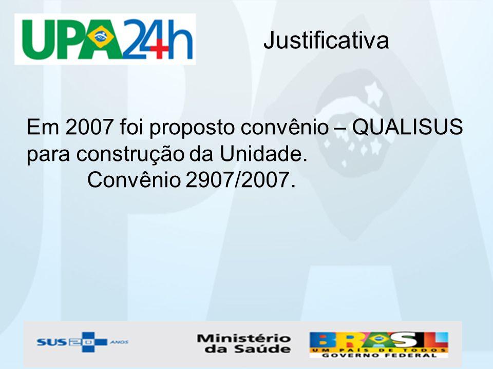 Justificativa Em 2007 foi proposto convênio – QUALISUS