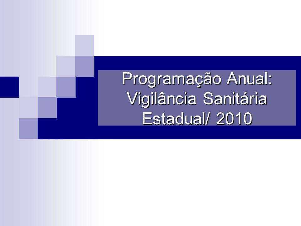 Programação Anual: Vigilância Sanitária Estadual/ 2010
