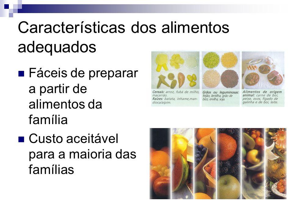 Características dos alimentos adequados