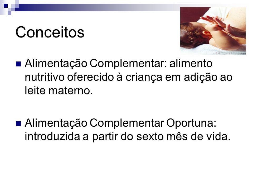 Conceitos Alimentação Complementar: alimento nutritivo oferecido à criança em adição ao leite materno.