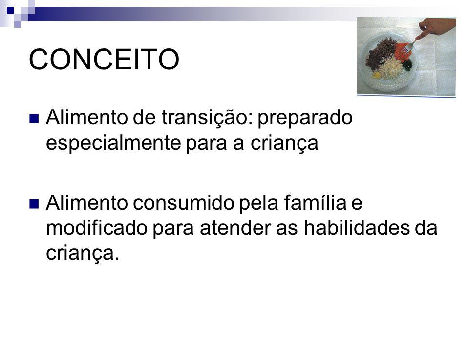 CONCEITO Alimento de transição: preparado especialmente para a criança