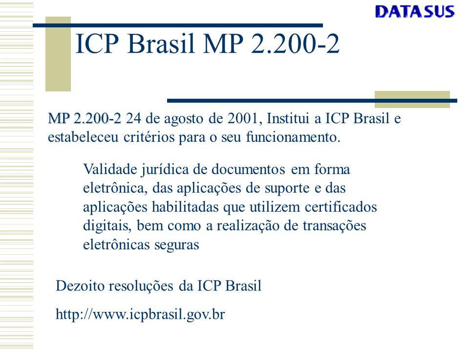 ICP Brasil MP 2.200-2 MP 2.200-2 24 de agosto de 2001, Institui a ICP Brasil e estabeleceu critérios para o seu funcionamento.