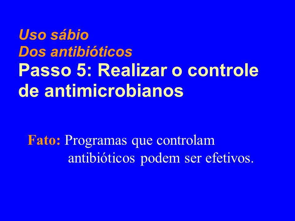 Passo 5: Realizar o controle de antimicrobianos