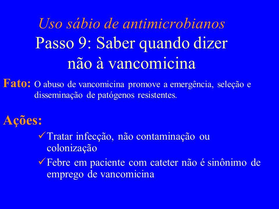 Uso sábio de antimicrobianos Passo 9: Saber quando dizer não à vancomicina
