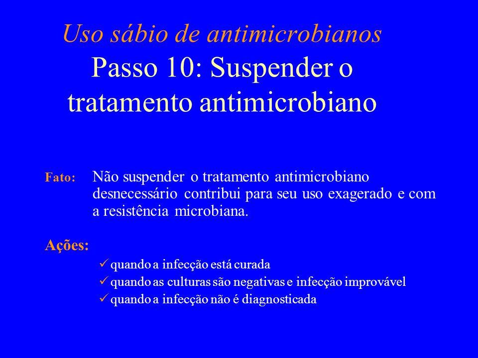 Uso sábio de antimicrobianos Passo 10: Suspender o tratamento antimicrobiano