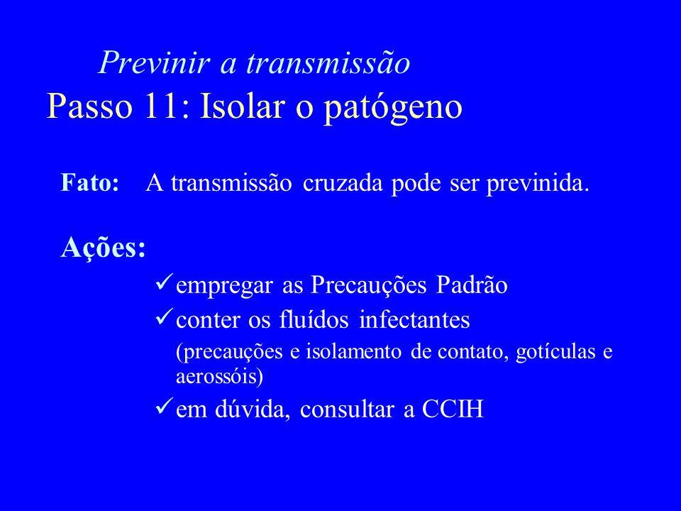 Previnir a transmissão Passo 11: Isolar o patógeno