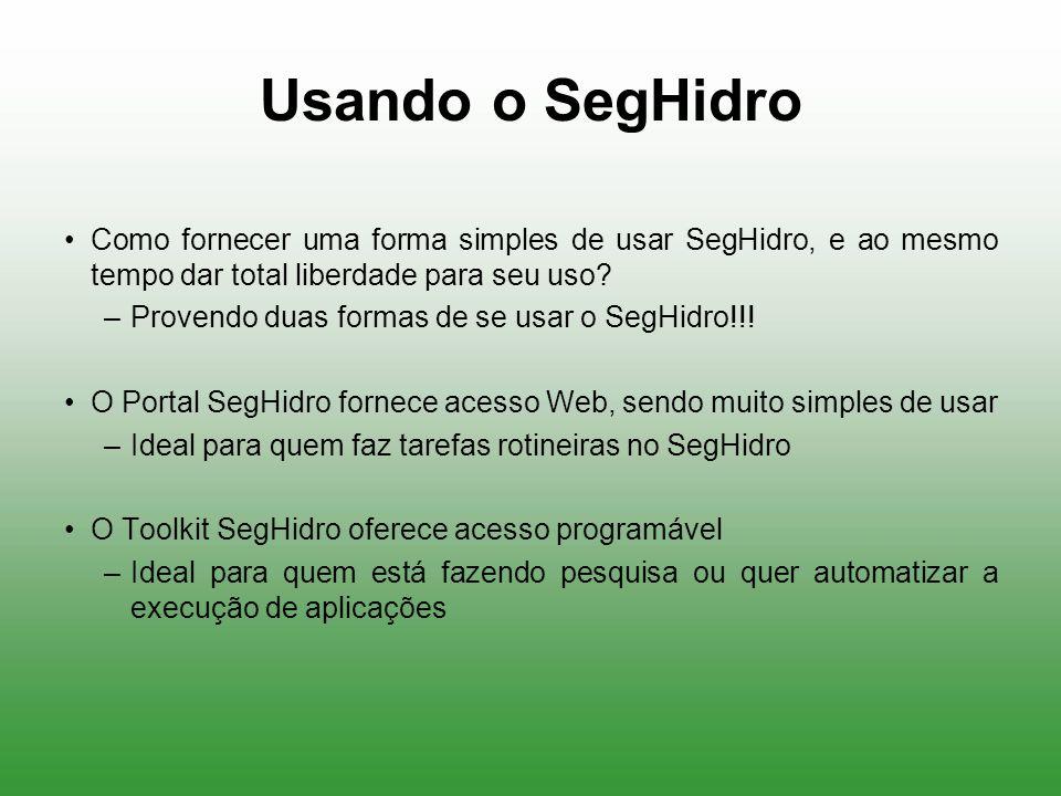 Usando o SegHidro Como fornecer uma forma simples de usar SegHidro, e ao mesmo tempo dar total liberdade para seu uso