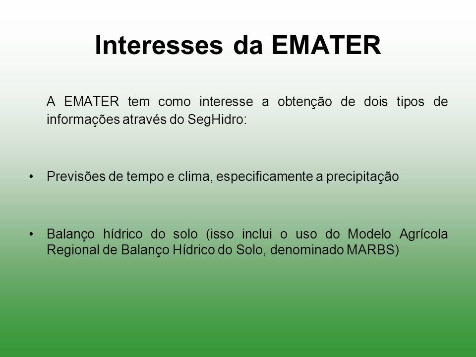 Interesses da EMATER A EMATER tem como interesse a obtenção de dois tipos de informações através do SegHidro: