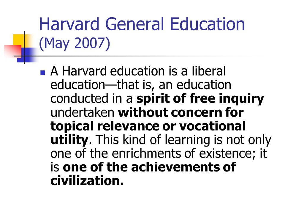 Harvard General Education (May 2007)