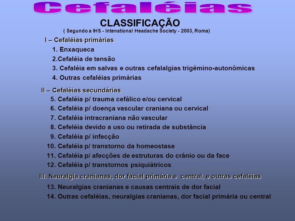 Cefaléias CLASSIFICAÇÃO