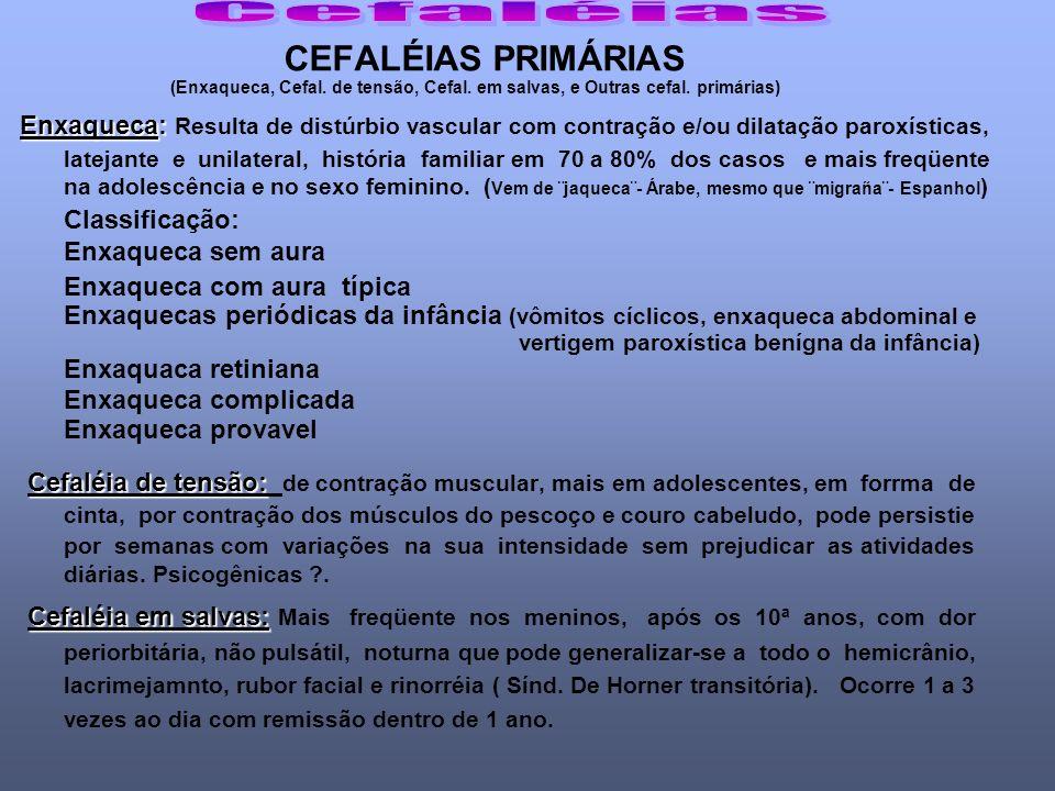 Cefaléias CEFALÉIAS PRIMÁRIAS