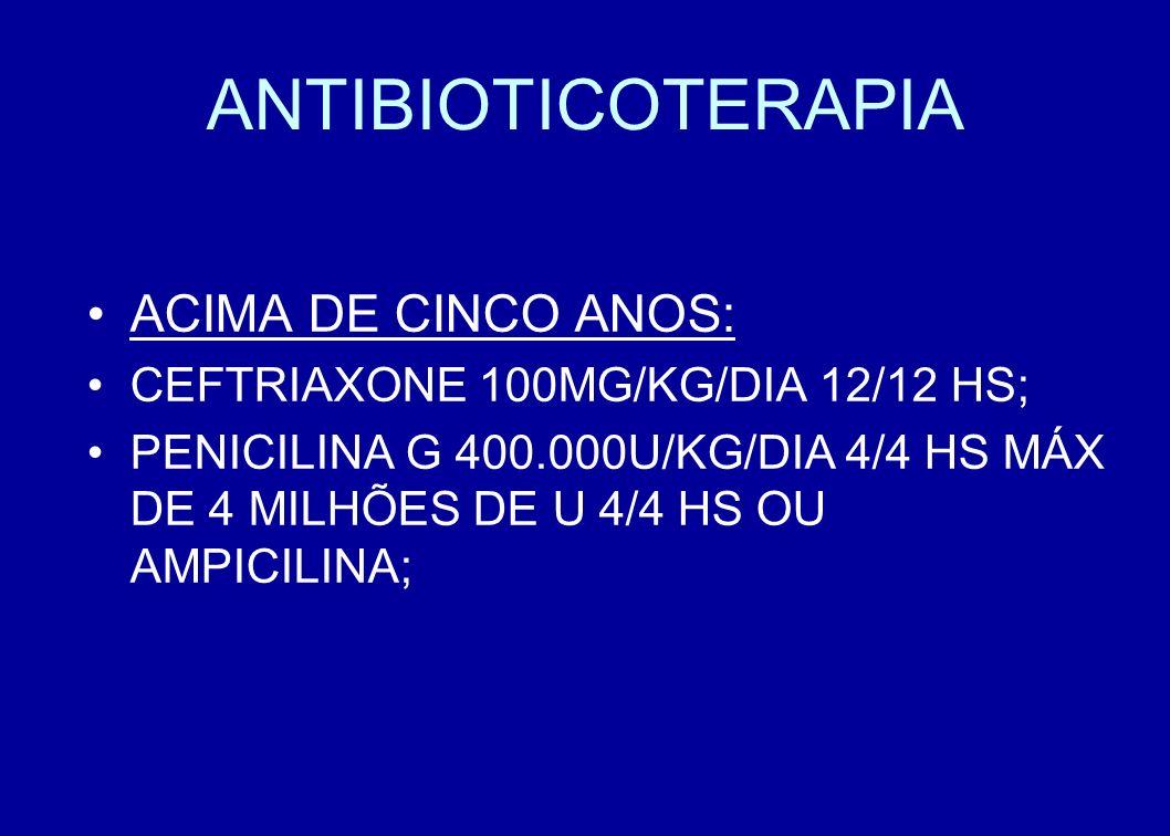 ANTIBIOTICOTERAPIA ACIMA DE CINCO ANOS: