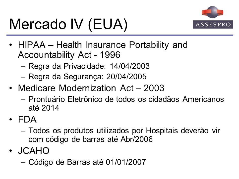 Mercado IV (EUA) HIPAA – Health Insurance Portability and Accountability Act - 1996. Regra da Privacidade: 14/04/2003.