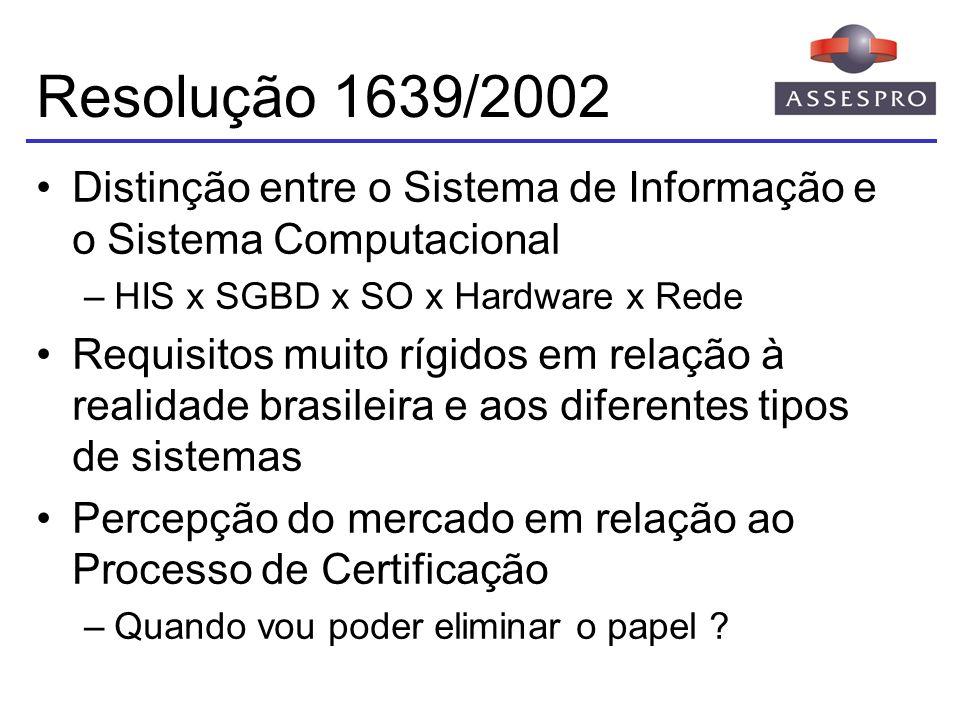 Resolução 1639/2002 Distinção entre o Sistema de Informação e o Sistema Computacional. HIS x SGBD x SO x Hardware x Rede.