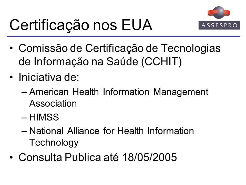 Certificação nos EUA Comissão de Certificação de Tecnologias de Informação na Saúde (CCHIT) Iniciativa de: