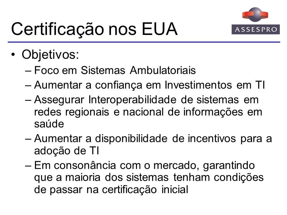 Certificação nos EUA Objetivos: Foco em Sistemas Ambulatoriais