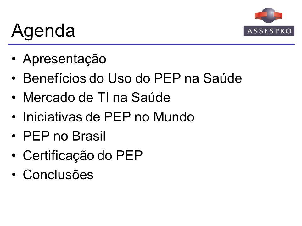 Agenda Apresentação Benefícios do Uso do PEP na Saúde