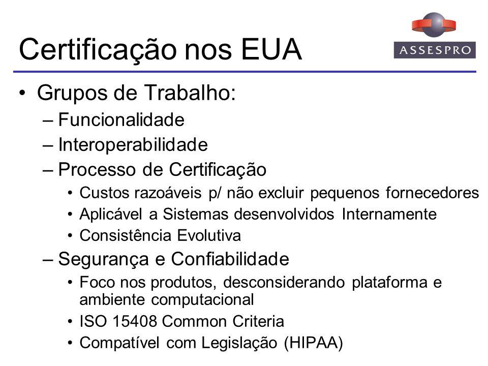 Certificação nos EUA Grupos de Trabalho: Funcionalidade