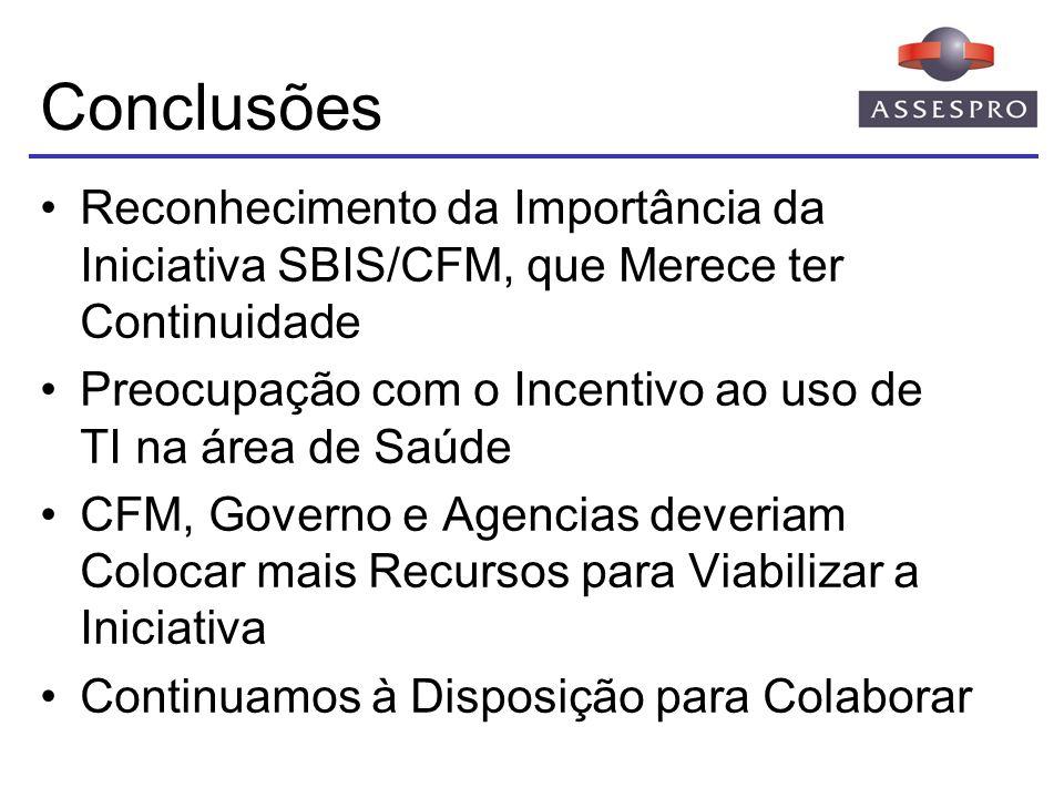 Conclusões Reconhecimento da Importância da Iniciativa SBIS/CFM, que Merece ter Continuidade.