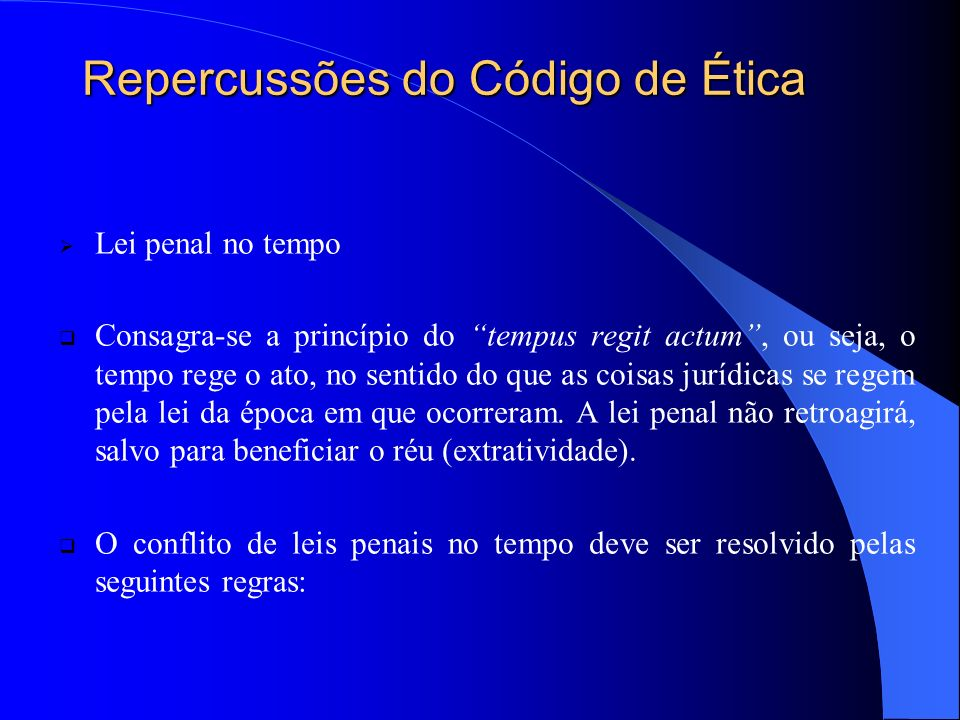 Repercussões do Código de Ética