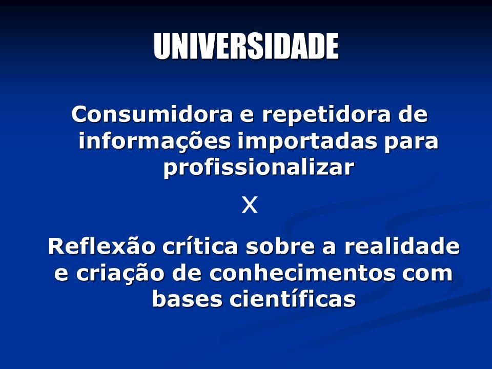 UNIVERSIDADEConsumidora e repetidora de informações importadas para profissionalizar. x.